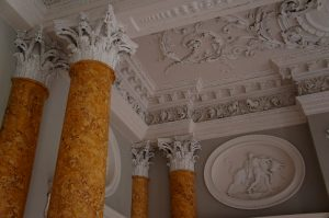 Faux marble columns at Stoneleigh Abbey, Warwickshire
